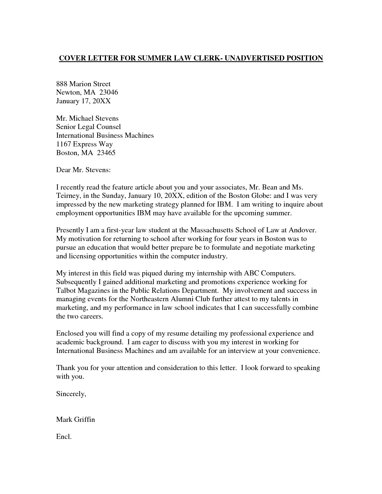 cover letter of employment