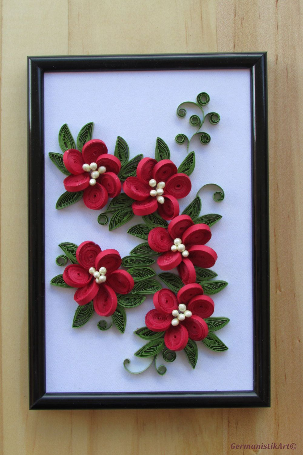 Flower Hanging Wall Art Miniature, Quilled Home Decoration
