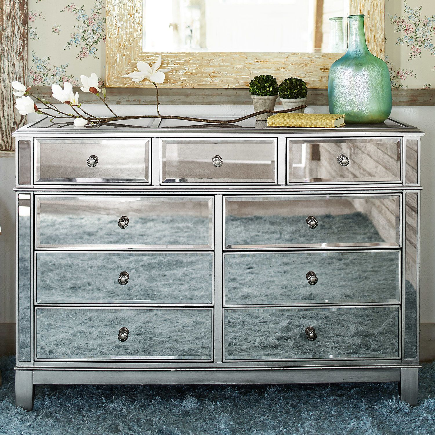 Mirrored Glass Vanity Hayworth Mirrored Silver Dresser Dresser Ships And Store