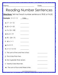 True or False Number Sentences #free #math #worksheet ...