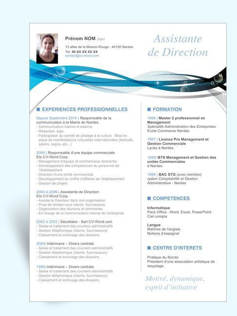 cv design assistante direction