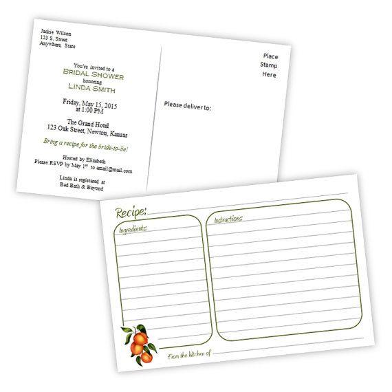 Recipe Card Bridal Shower Invitation Postcard - Peaches - DIY - free recipe card templates for microsoft word