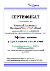 сертификат эффективное управление запасами