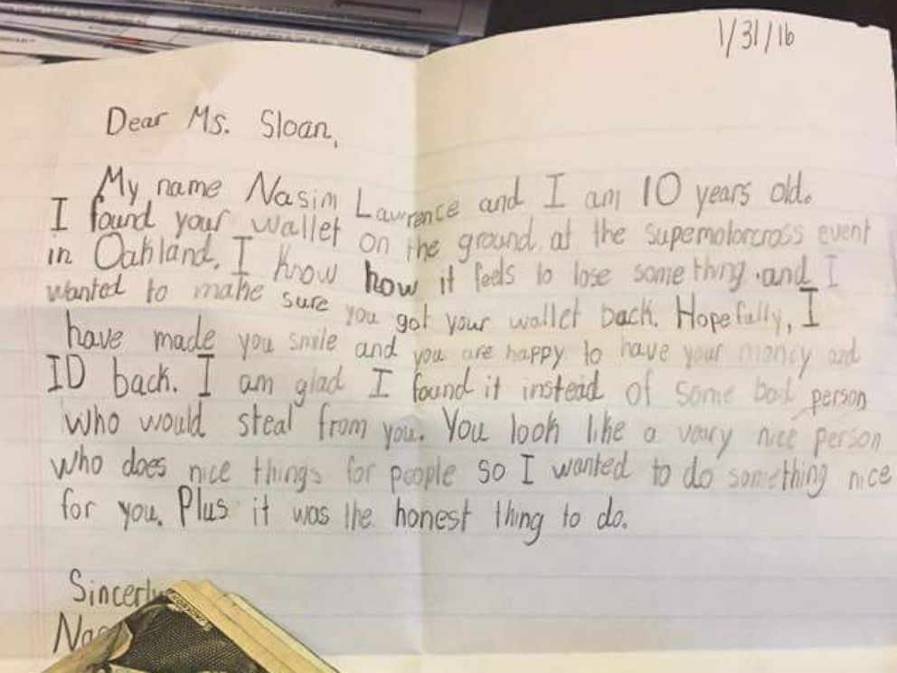 Child Returns Lost Wallet to Woman With Note \u0027Hopefully, I Have