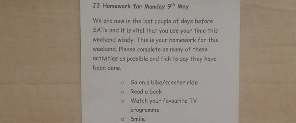 Teacher\u0027s Fun Homework for Stressed Students Earns an \u0027A\u0027 With the - homework assignment book