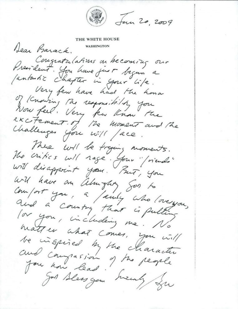 First on ABC George W Bush\u0027s Inauguration Day Letter to Barack