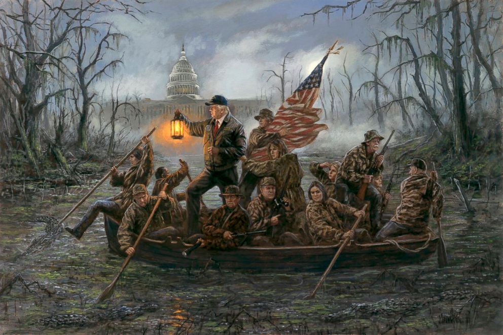 Crossing the Swamp\u0027 painting puts a Trump twist on iconic image and
