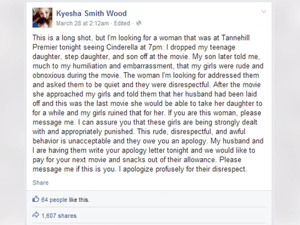 Alabama Mom\u0027s Facebook Apology for Kids\u0027 Movie Behavior Brings - apology letter to family