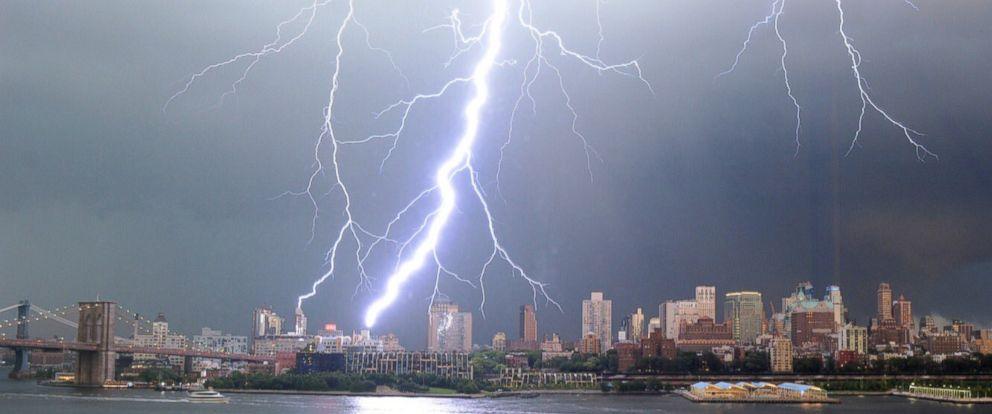 Lightning strikes illuminate New York City skyline - ABC News