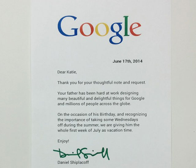 Girl\u0027s Heartfelt Letter Pleads With Google To Give Her Dad A Day Off