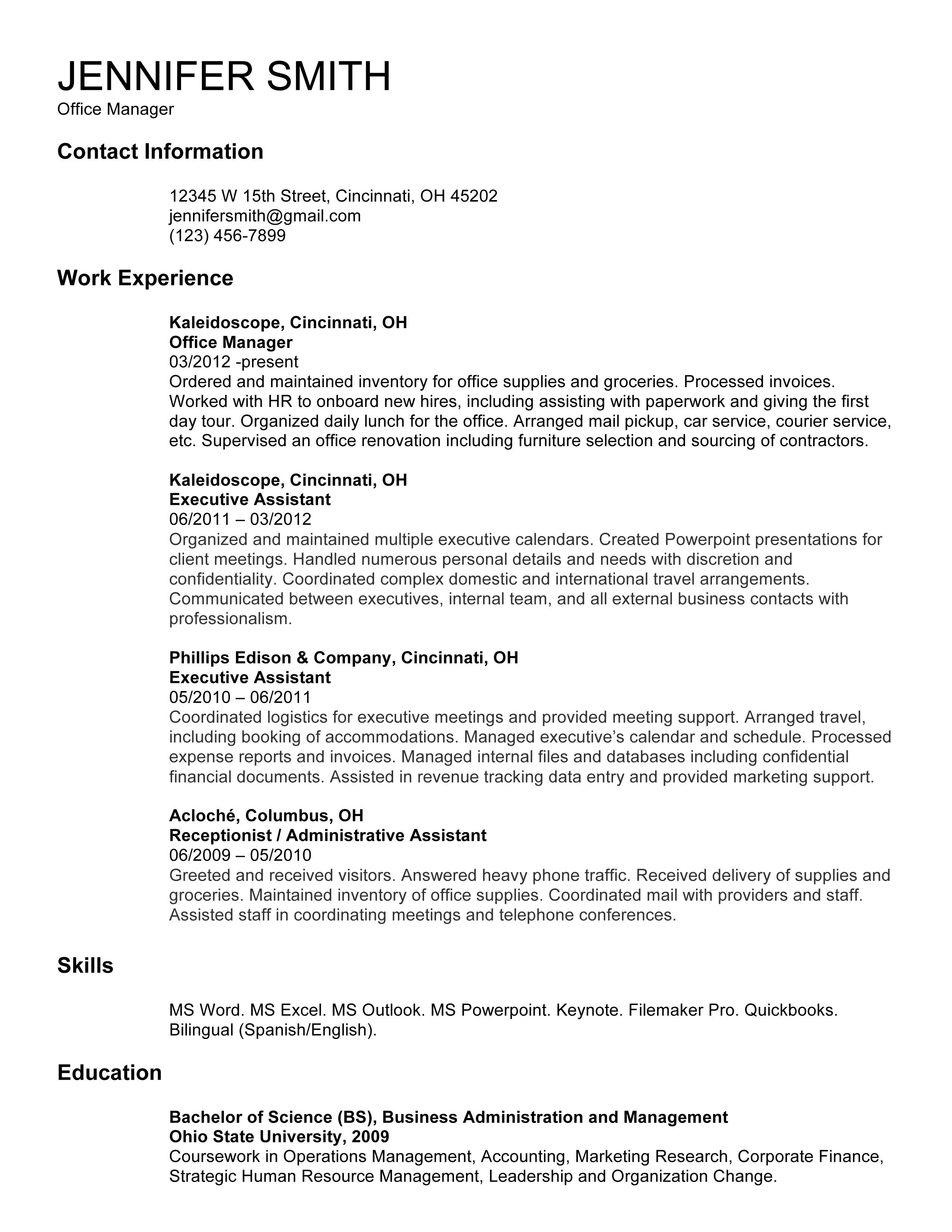 resume example hss