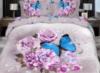 Elegant Purple Flower with butterfly Print 4 Piece Bedding ...