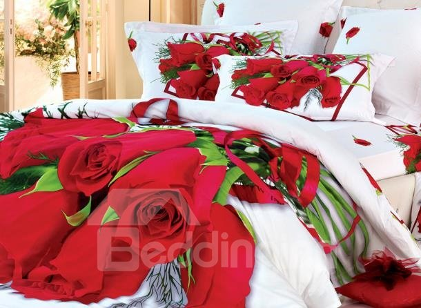 Beautiful Luxurious Red Roses Print 4 Piece Bedding Sets