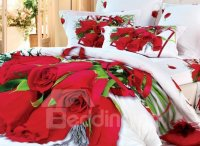 Beautiful Luxurious Red Roses Print 4 Piece Bedding Sets ...