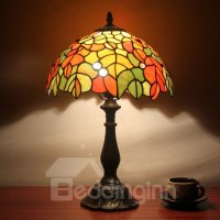 12-Inch Tiffany Leaves Pattern Stained Glass Table Lamp ...