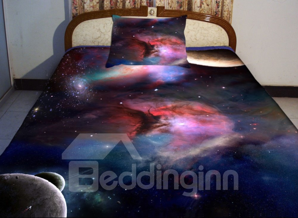 Bettwäsche Galaxie Red Nebula With Dark Blue Background Print 4 Piece Duvet