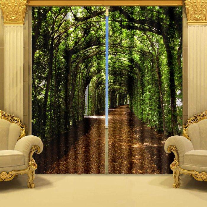 3d Wallpaper House Malaysia Fantastic Green Corridor Printing Polyester 2 Pieces 3d