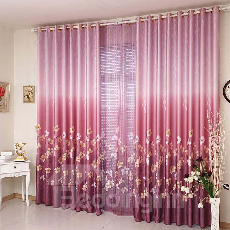Bright Red Sea of Flowers Custom Grommet Top Curtain