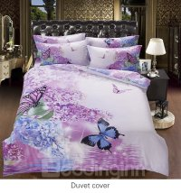 Artistic Romantic Flower Butterflies Printing 5-Piece ...