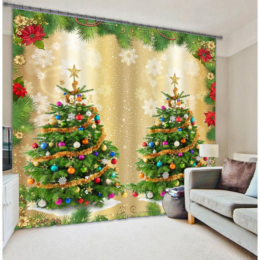 Christmas Trees Print 3D Home Decor Curtain