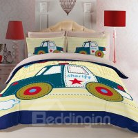 Super Cute Police Car Print Kids Duvet Cover Sets with ...