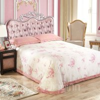 Floral Pattern Pink Jacquard 4-Piece Bamboo Fabric Bedding ...