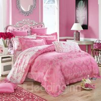 Romantic Heart-shaped Pink Jacquard 4-Piece Bamboo Fabric ...