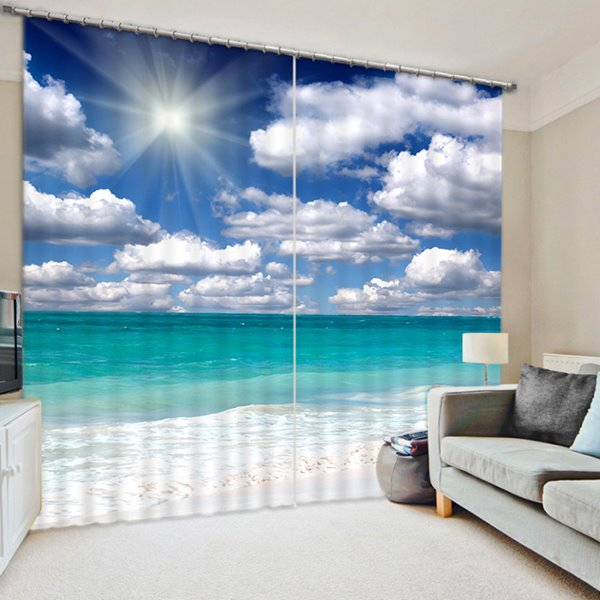 Fall Ceiling Wallpaper Design The Beautiful Scenery Of Beach In The Sun Print 3d Curtain
