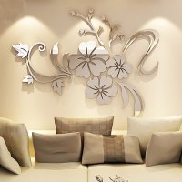 Modern Beautiful Mirror Flowers Shape Wall Stickers ...