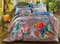 Tropical Style Plants Print 4-Piece Cotton Duvet Cover ...