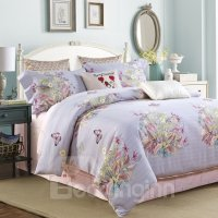 American Country Style Floral and Butterfly Print 4-Piece ...