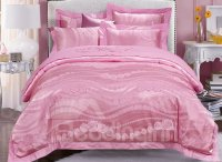 Chic Pink Rose Jacquard 4-Piece Duvet Cover Sets ...