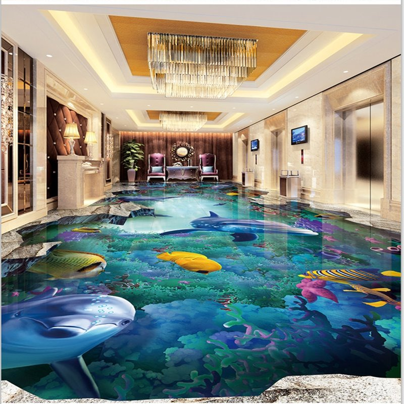 3d Wallpaper Murals India Amazing Dolphins And Fishes Undersea Scenery Wallpaper