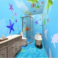 Sky Blue Simple Style Colorful Sea Starfish Pattern ...