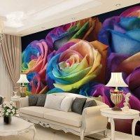 Romantic Colorful Roses Pattern Waterproof Splicing 3D ...