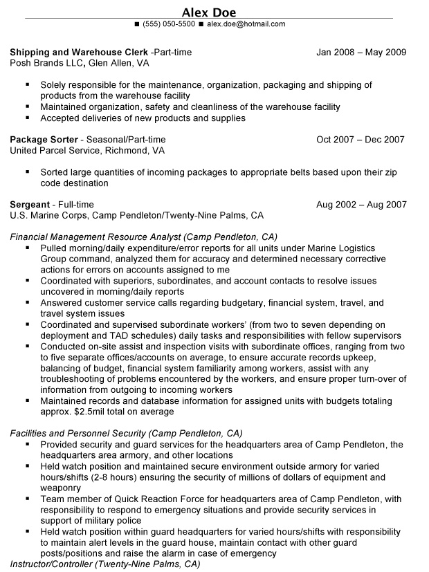 examples of military resume