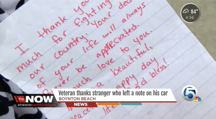 Vietnam veteran touched by kind note left on his car - AOL News