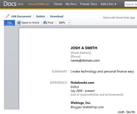 Create a resume in 6 seconds with Facebook and Docs - AOL Finance