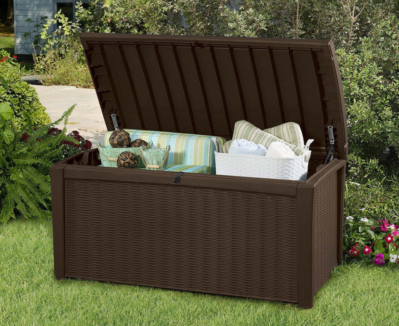 Kissenbox Outdoor Keter 400l Borneo Storage Box Espresso Brown Scoopon