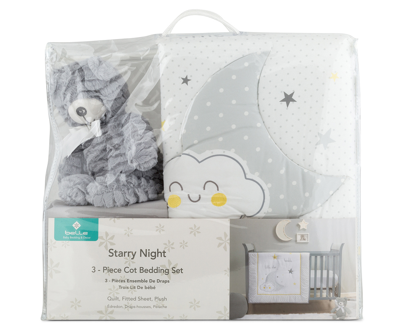 Cot Bedding Australia Belle Starry Night Cot Bedding Set 3pc Grey Yellow