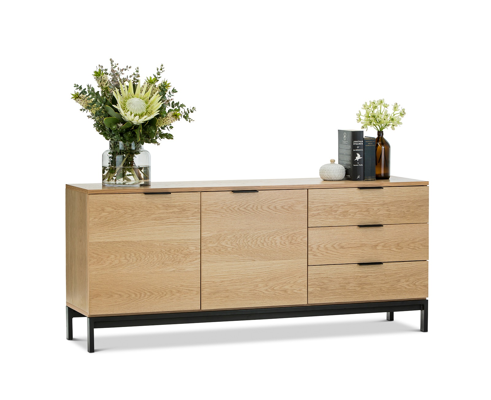 Timber Sideboard Contemporary Scandinavian Oak Veneer Timber 160cm