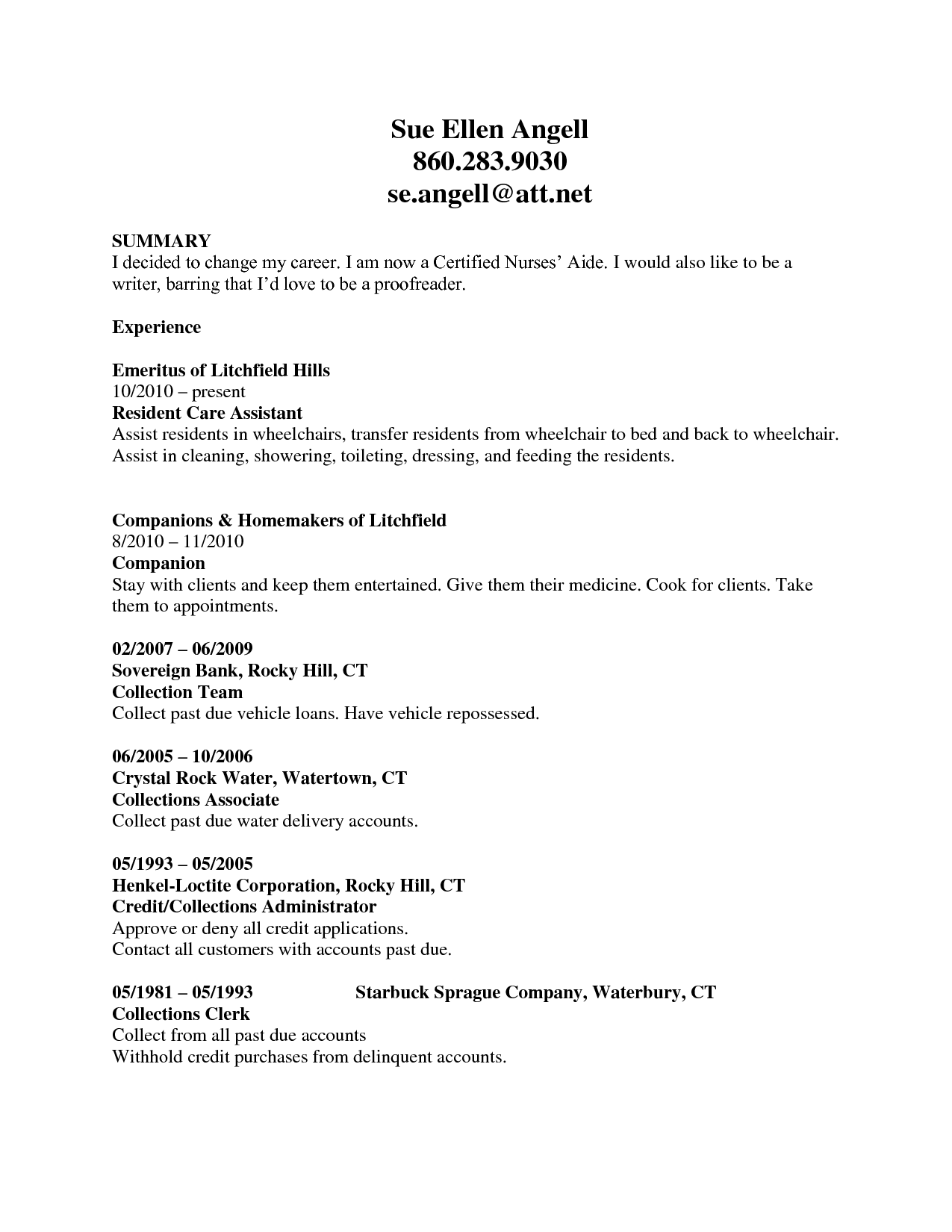 qualifications summary resume cna