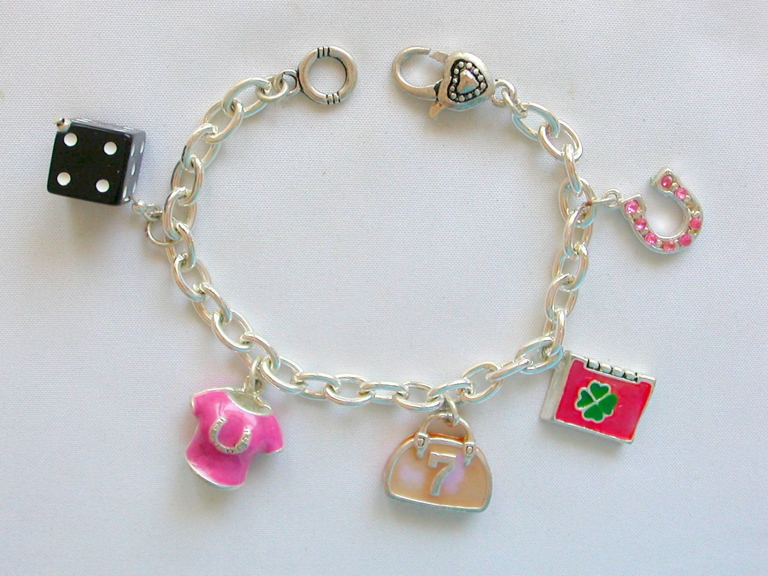Nwt Lucky Charms Clover Horse Shoe Pink Charm Bracelet