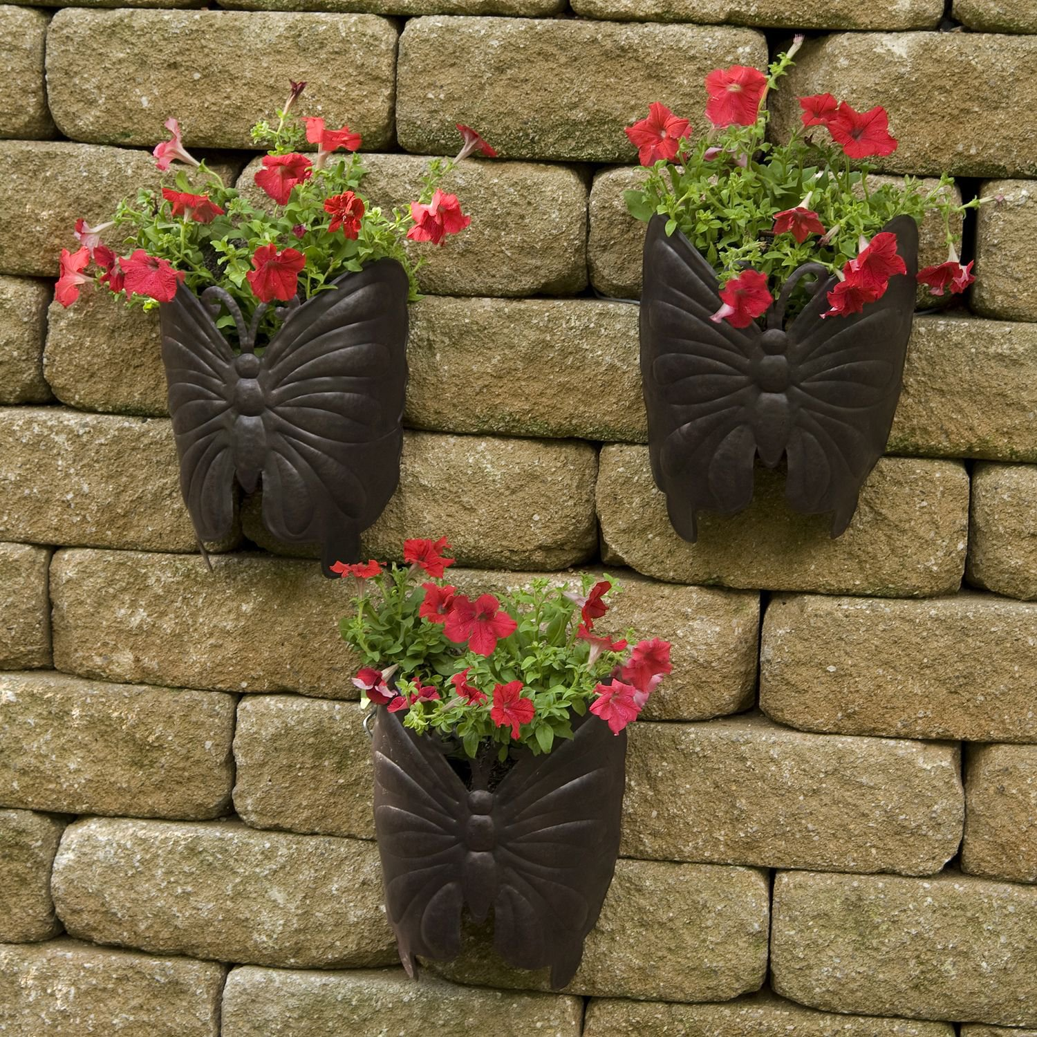 Outdoor Wall Hanging Planters Planter Large Butterfly Metal Wall Planter 3pk