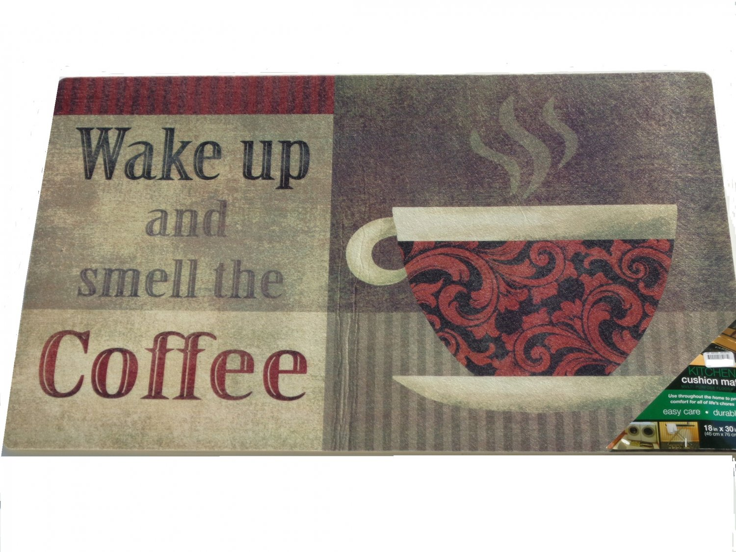 Red Rooster Coffee Garden Valley Wake Up And Smell The Coffee Kitchen Rug Cushion Mat