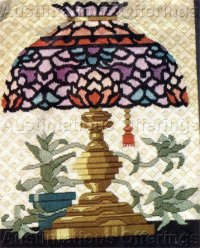 RARE TIFFANY STAINED GLASS TEXTURED LONGSTITCH NEEDLEPOINT ...