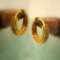 Mens earrings in 14K yellow gold, solid gold huggie hoop ...