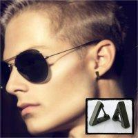 Mens hoop earring in black gold, triangle hoop earring for ...
