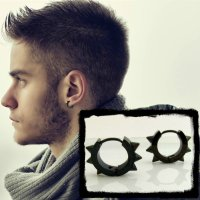 Spike hoop earrings for men  black mens huggie hoop ...