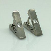Men's triangle hoop earring with diamond cz, EC213